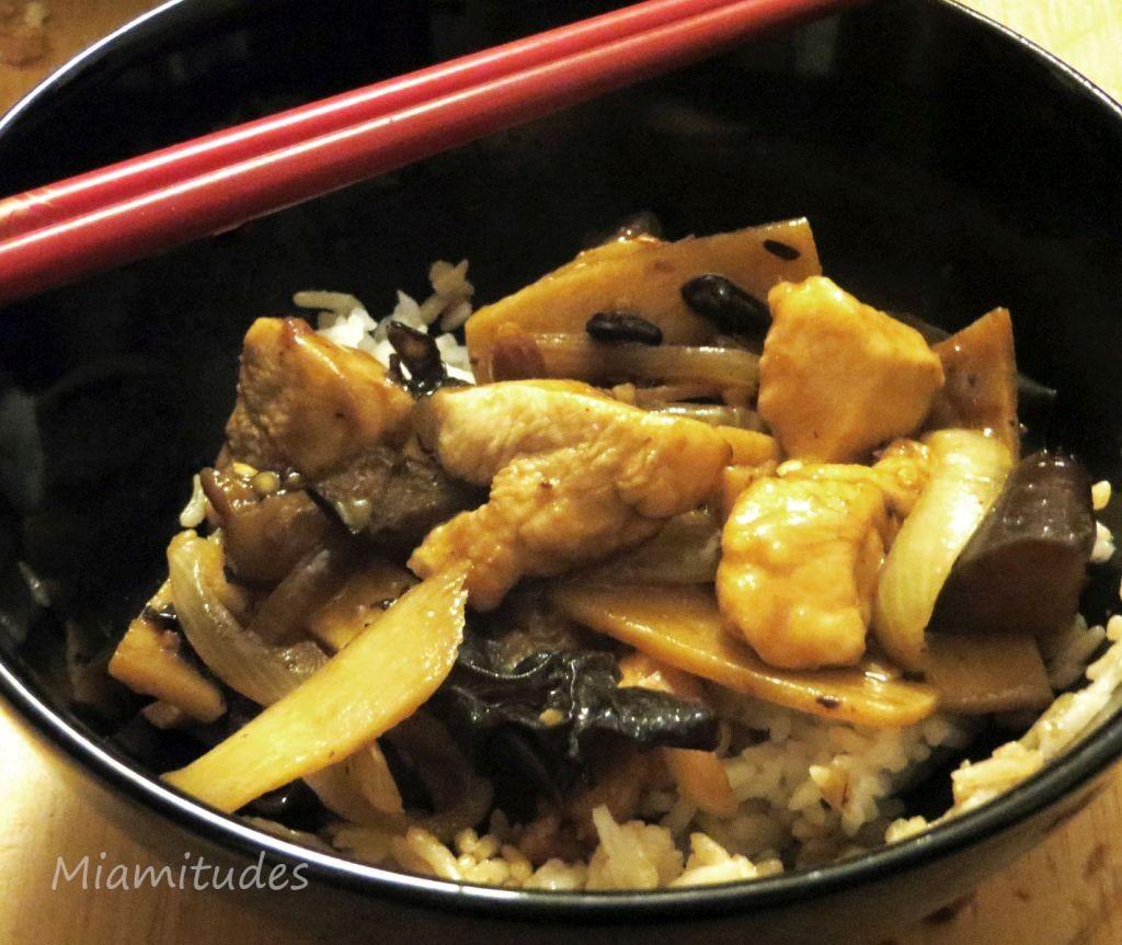 Poulet, aubergine, haricots noirs au gingembre confit.