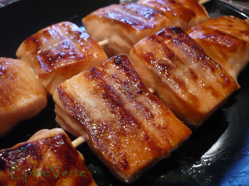 Brochette de saumon mariné