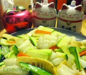 Calamar aux pousses de bambou et légumes